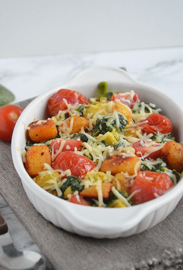 Aardappelovenschotel met kip en spinazie