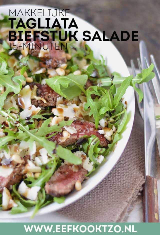 Tagliata (biefstuk salade) Pinterest collage