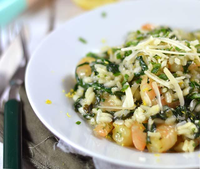 Risotto met garnalen en spinazie