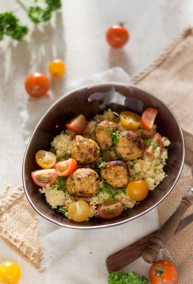 Couscous met kipgehaktballetjes