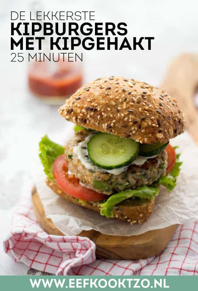 Zelfgemaakte kipburgers met kipgehakt Pinterest Collage