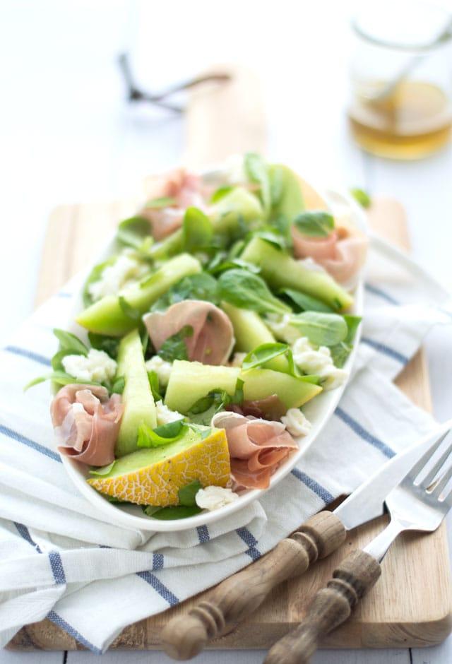 Meloensalade met ham