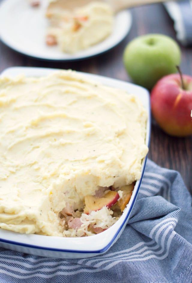 Ovenschotel met zuurkool spekjes en appel