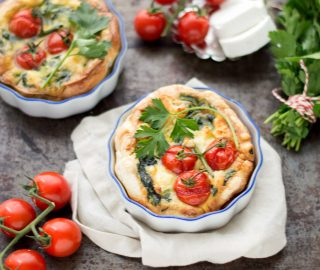 Mini quiche met spinazie en geitenkaas