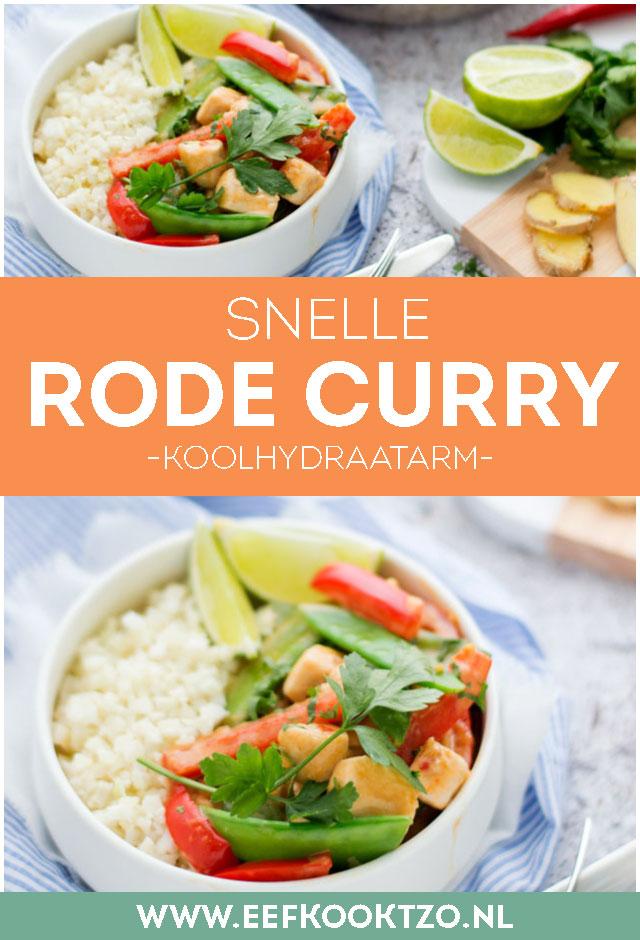 Rode curry met kip en bloemkoolrijst - pinterest collage