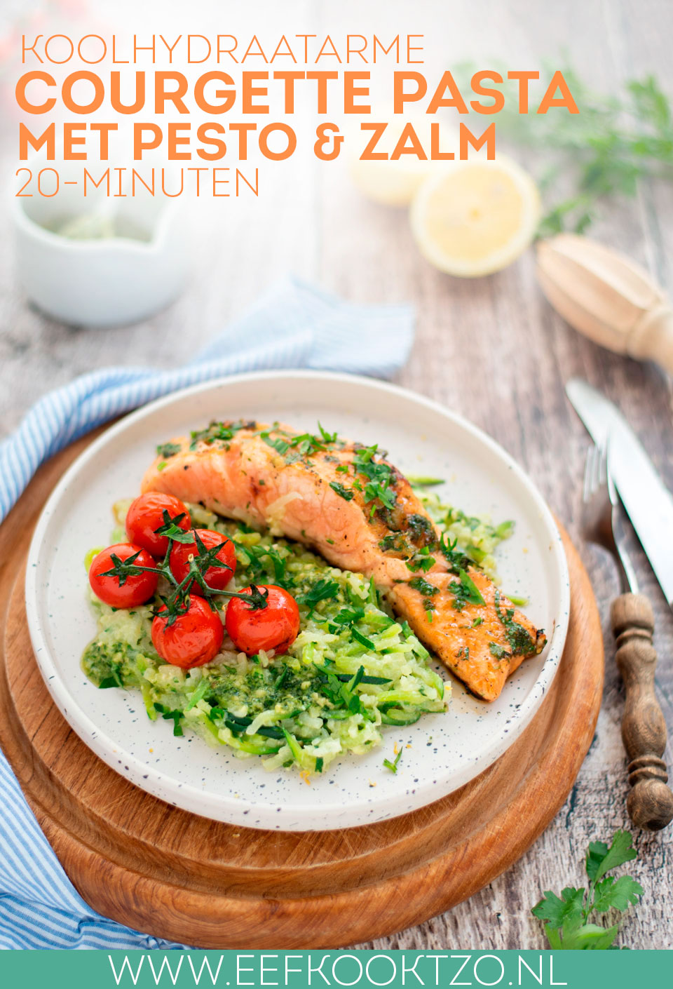 Courgette pasta pesto met zalm Pinterest Collage