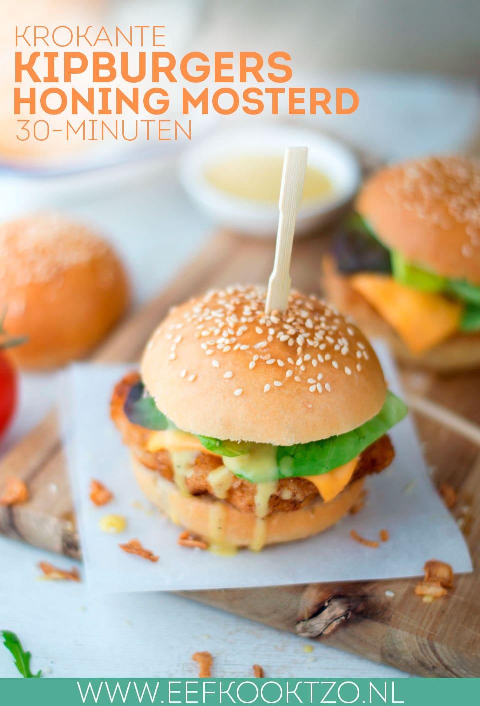 Zelf een krokante kipburger maken met honing mosterdsaus Pinterest collage