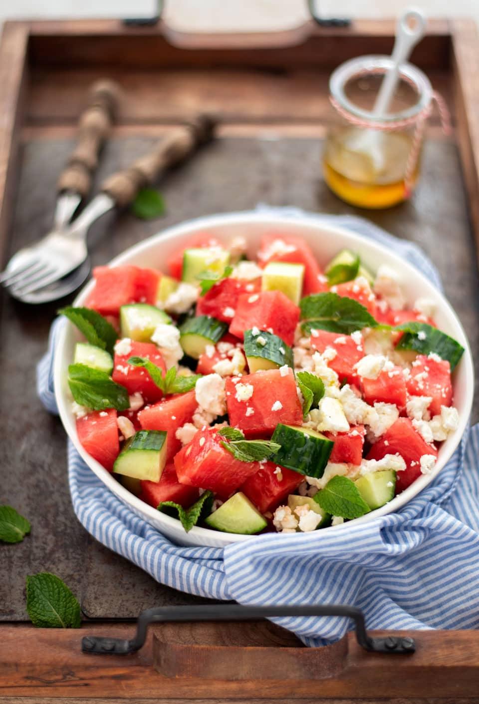 Salade van watermeloen met feta