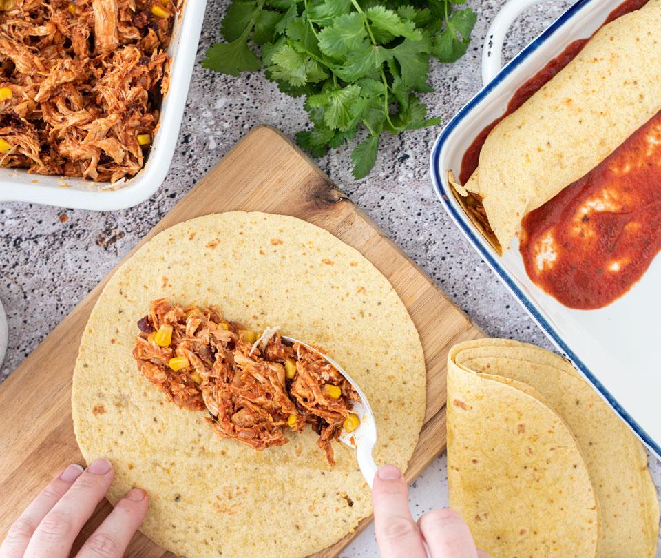Kip enchiladas vullen