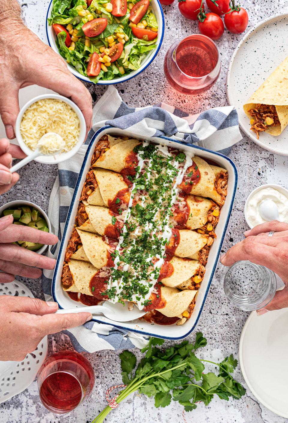 Enchiladas met kip uit de oven