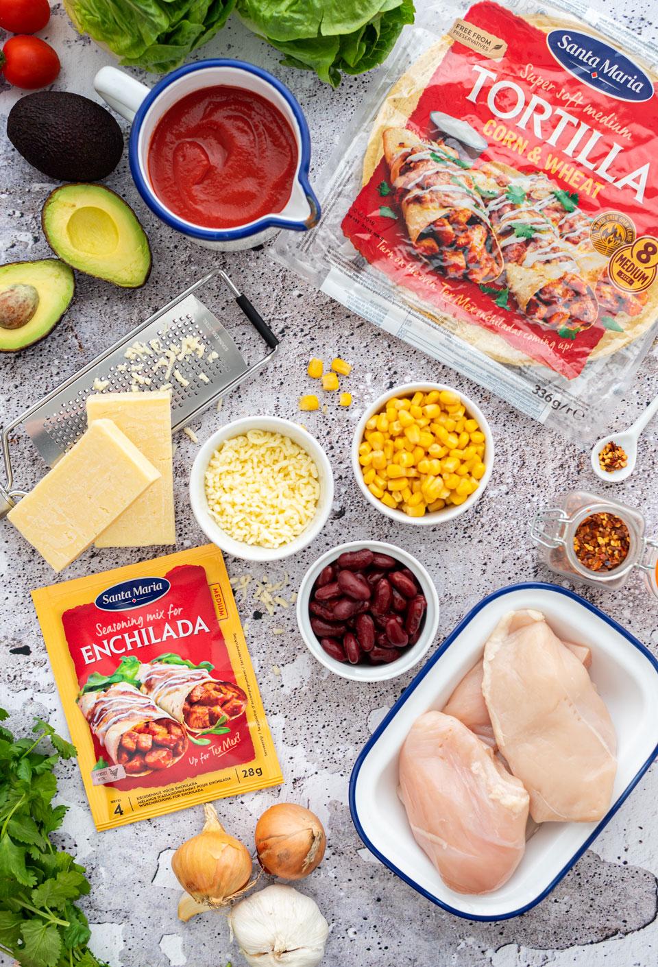 Ingredienten voor de enchiladas met kip