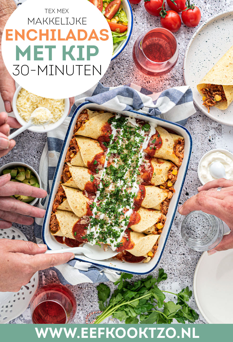 Enchiladas met kip - Pinterest collage