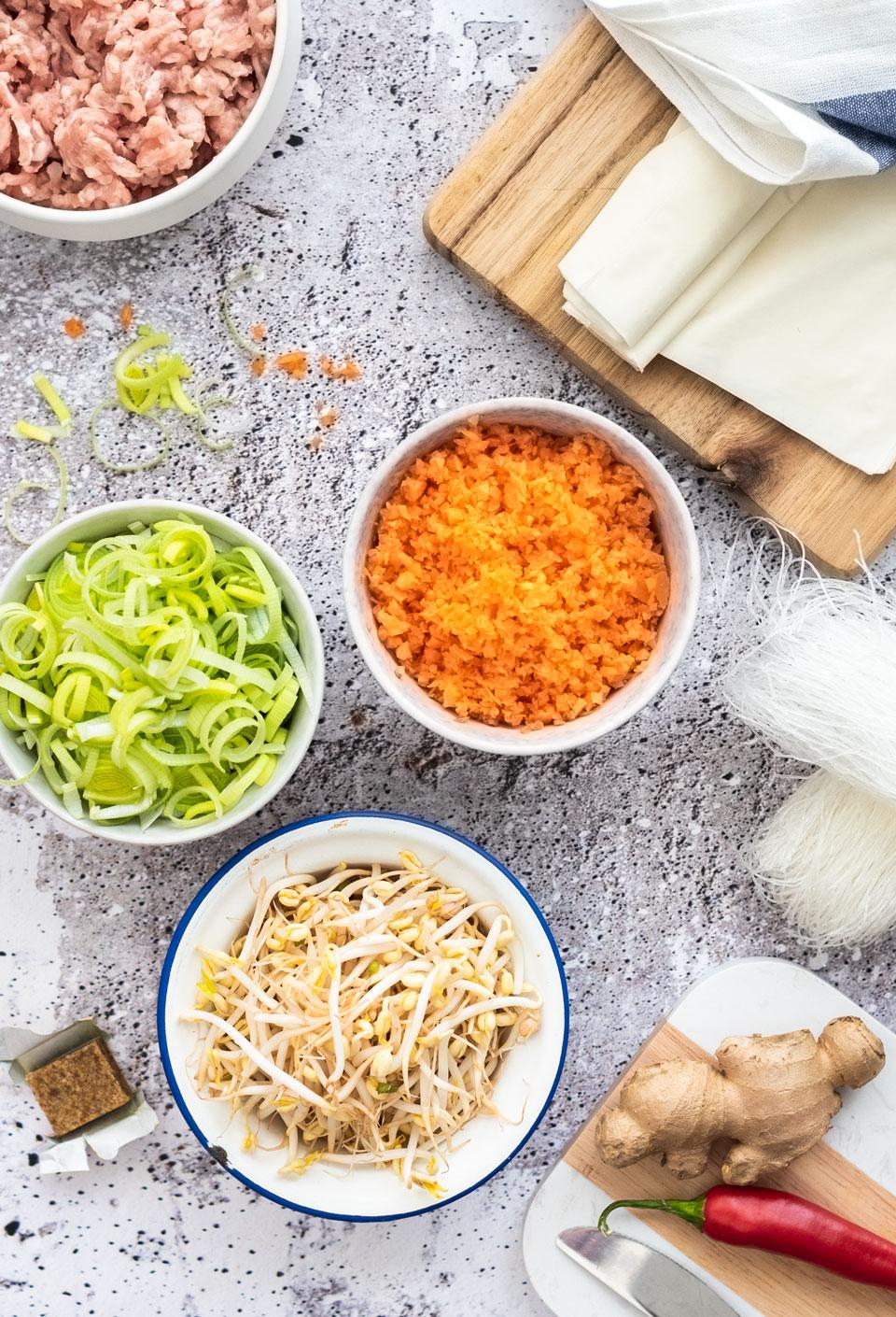 Ingredienten voor Vietnamese loempia's met kip