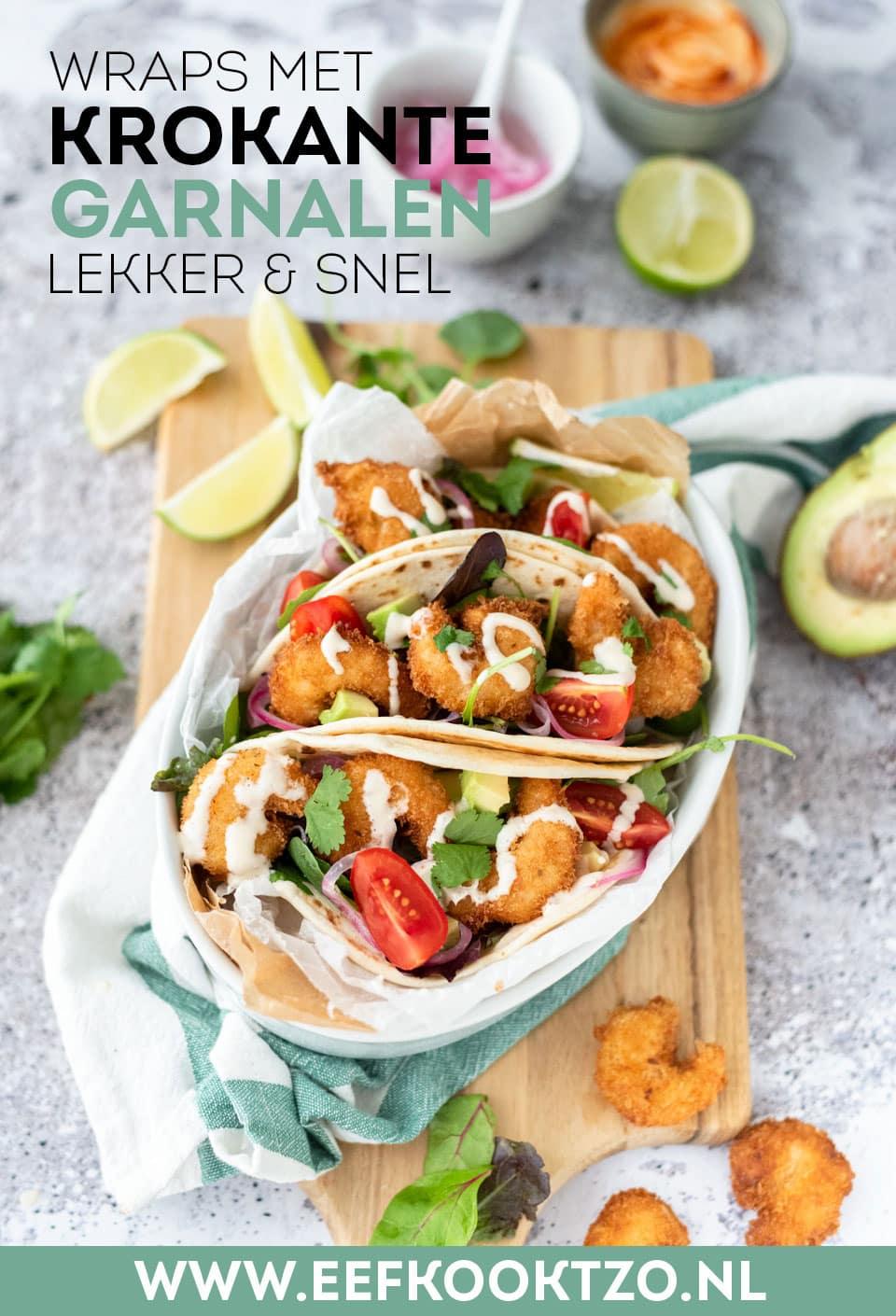 Wraps met garnalen en avocado Pinterest Collage