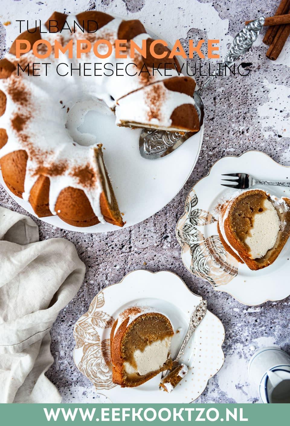 Pompoencake met cheesecake Pinterest collage