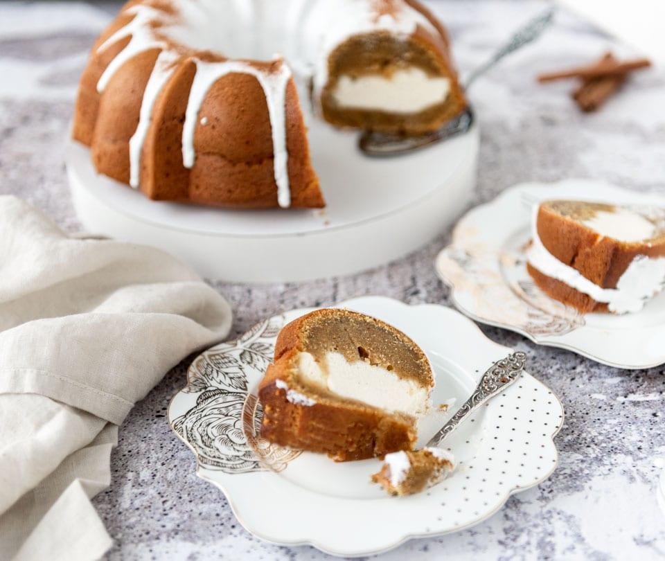 Pompoencake in tulbandvorm met cheesecakevulling