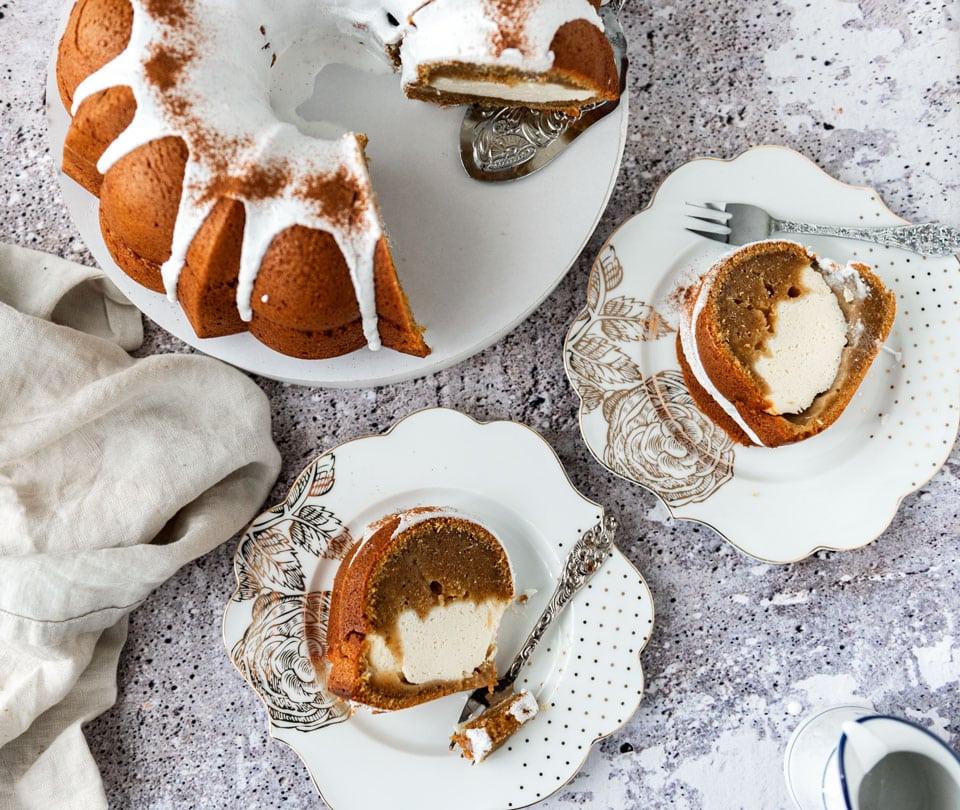 Pompoencake met cheesecake