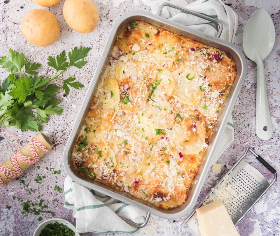 Aardappelgratin met Parmezaanse kaas