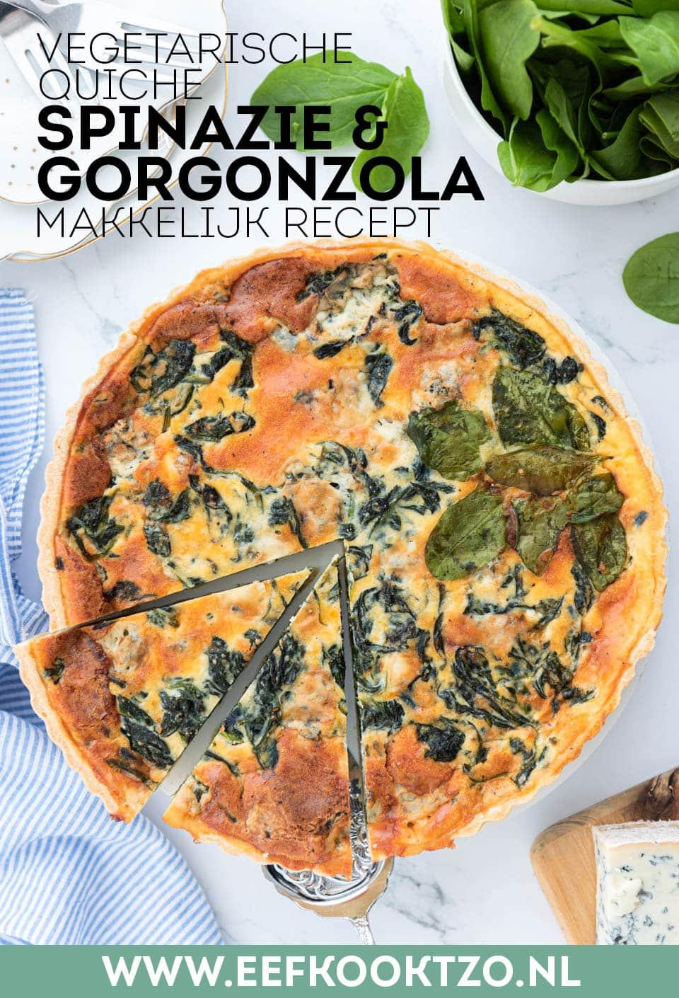 Vegetarische quiche met spinazie en gorgonzola Pinterest Collage