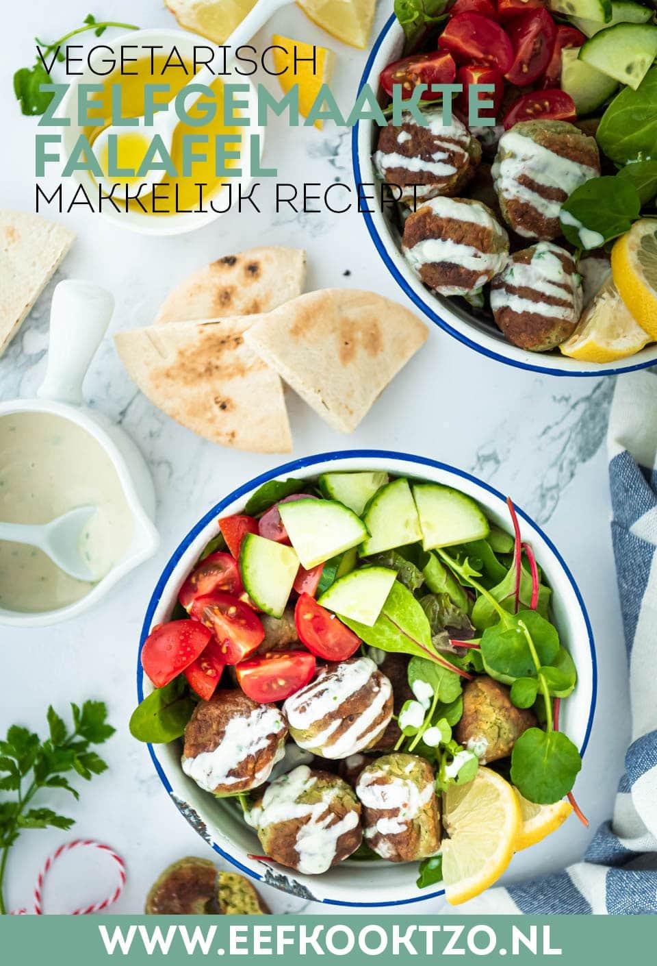 Zelf falafel maken Pinterest collage