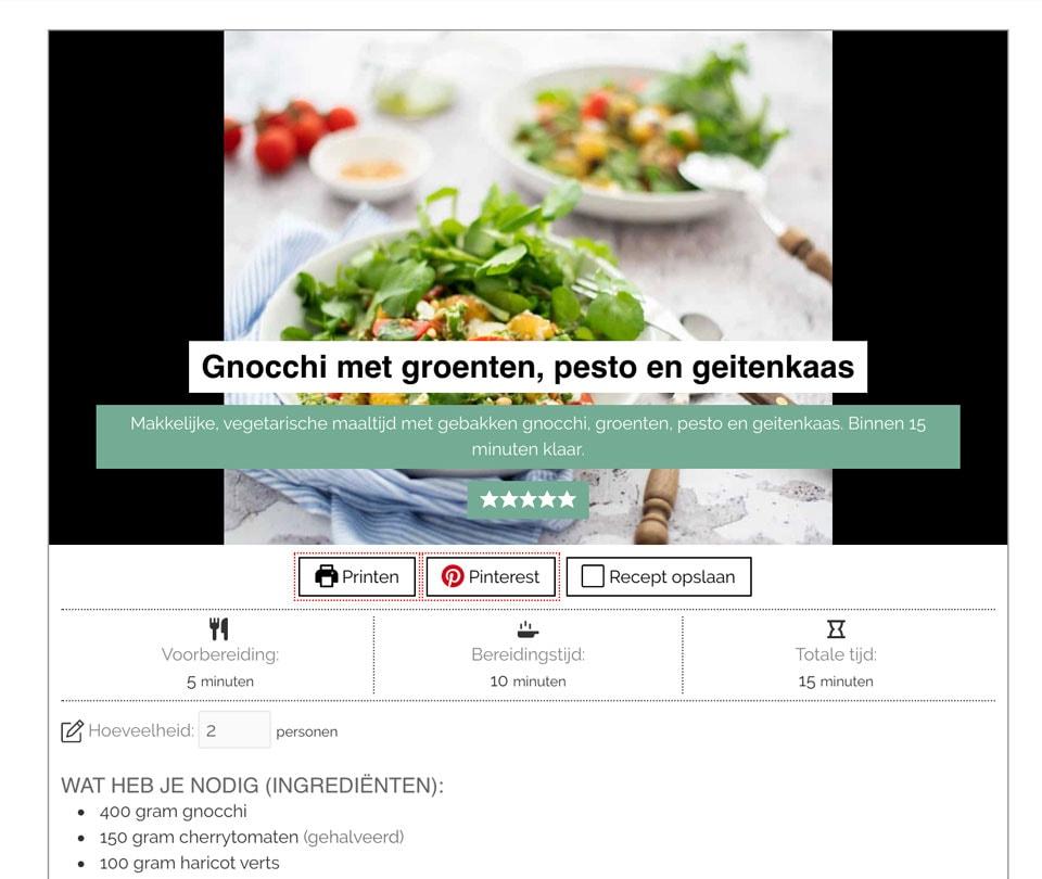 Nieuwe website - recepten