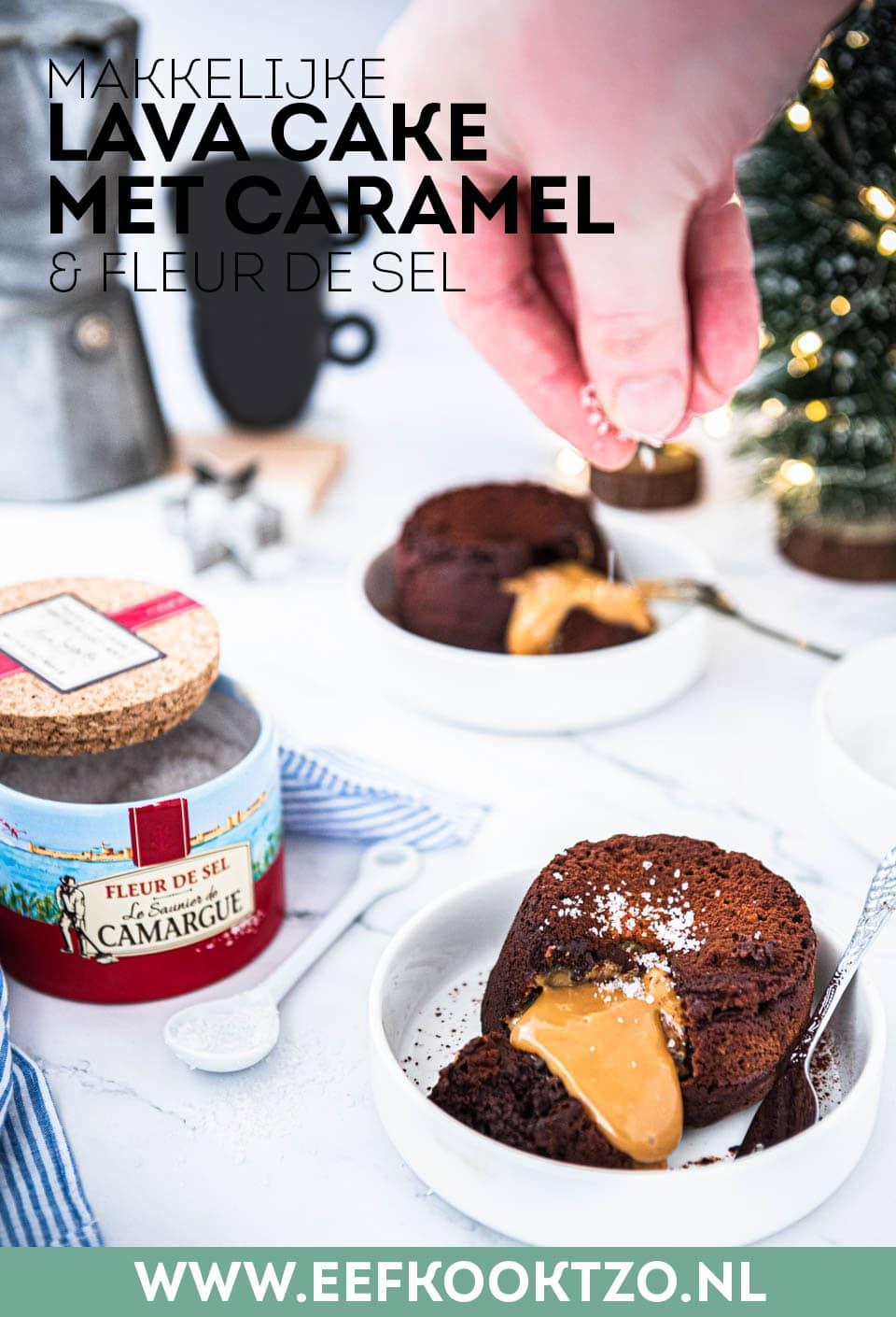 Lava cake met caramel Pinterest Collage