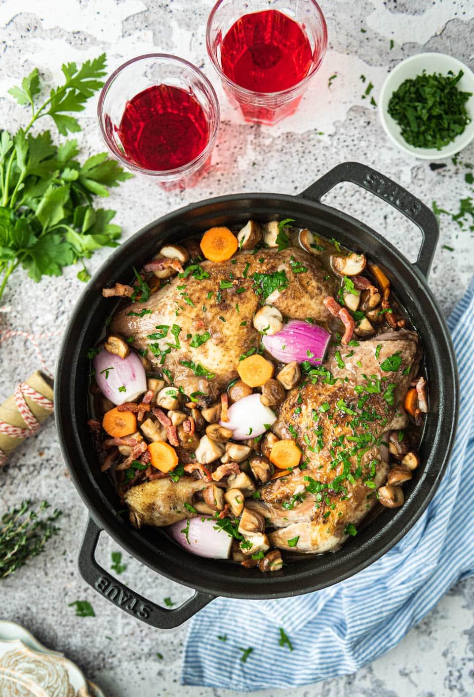 Coq au vin - kip in rode wijnsaus
