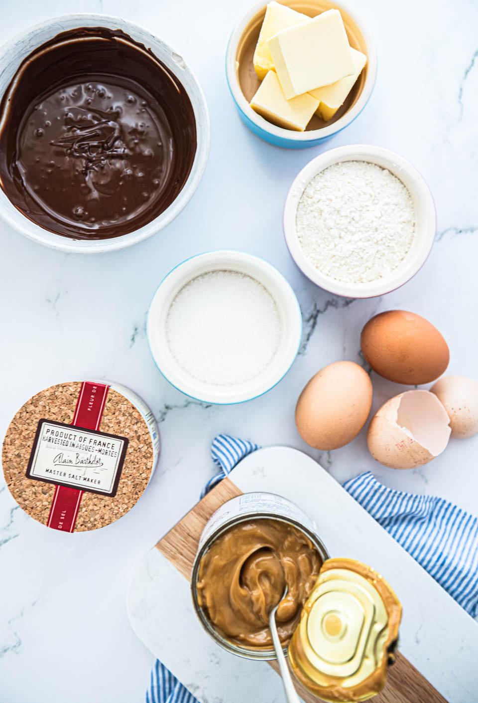 Ingredienten lava cake met caramel