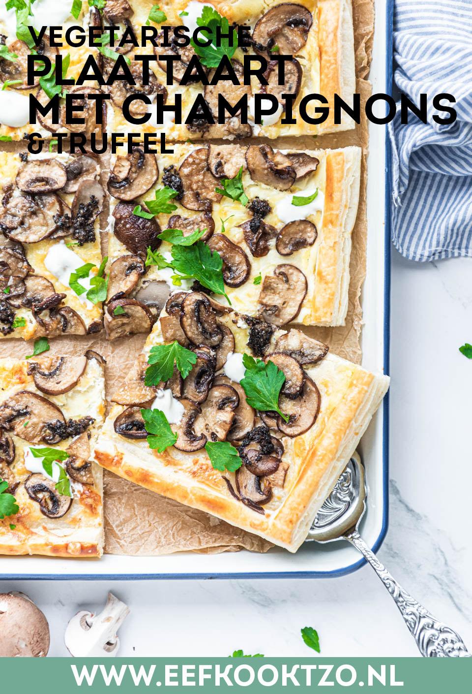 Plaattaart met champignons en truffel Pinterest Collage
