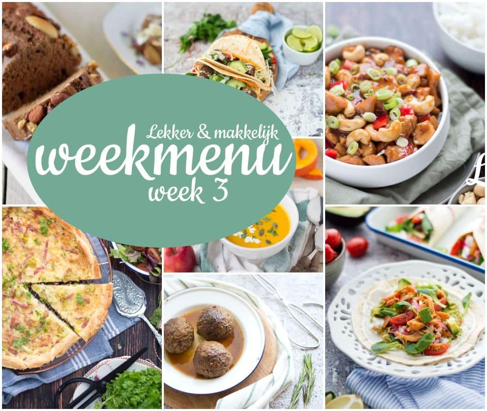 Lekker en makkelijk weekmenu – week 3