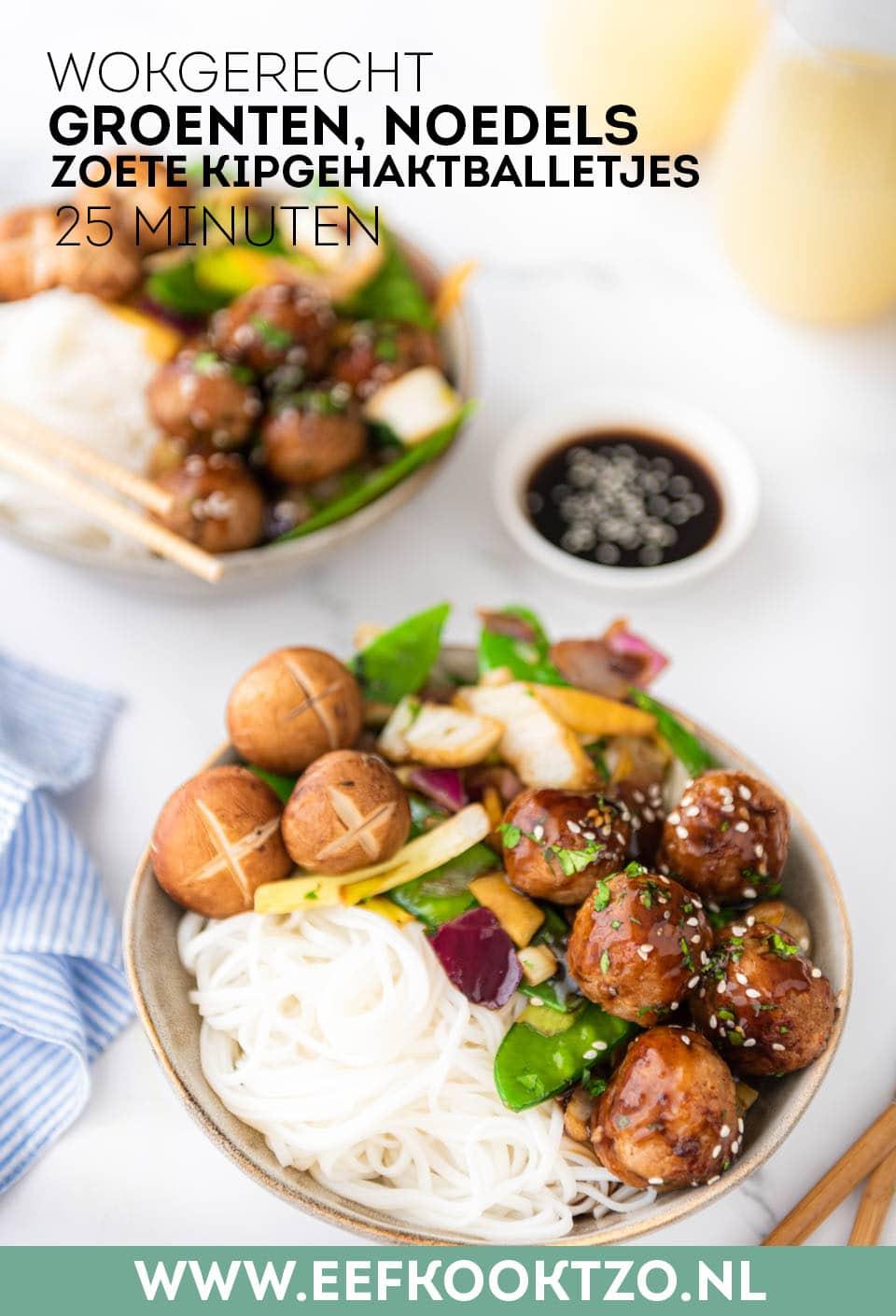 Wokgerecht met groenten, noedels en kipgehaktballetjes Pinterest Collagekopie
