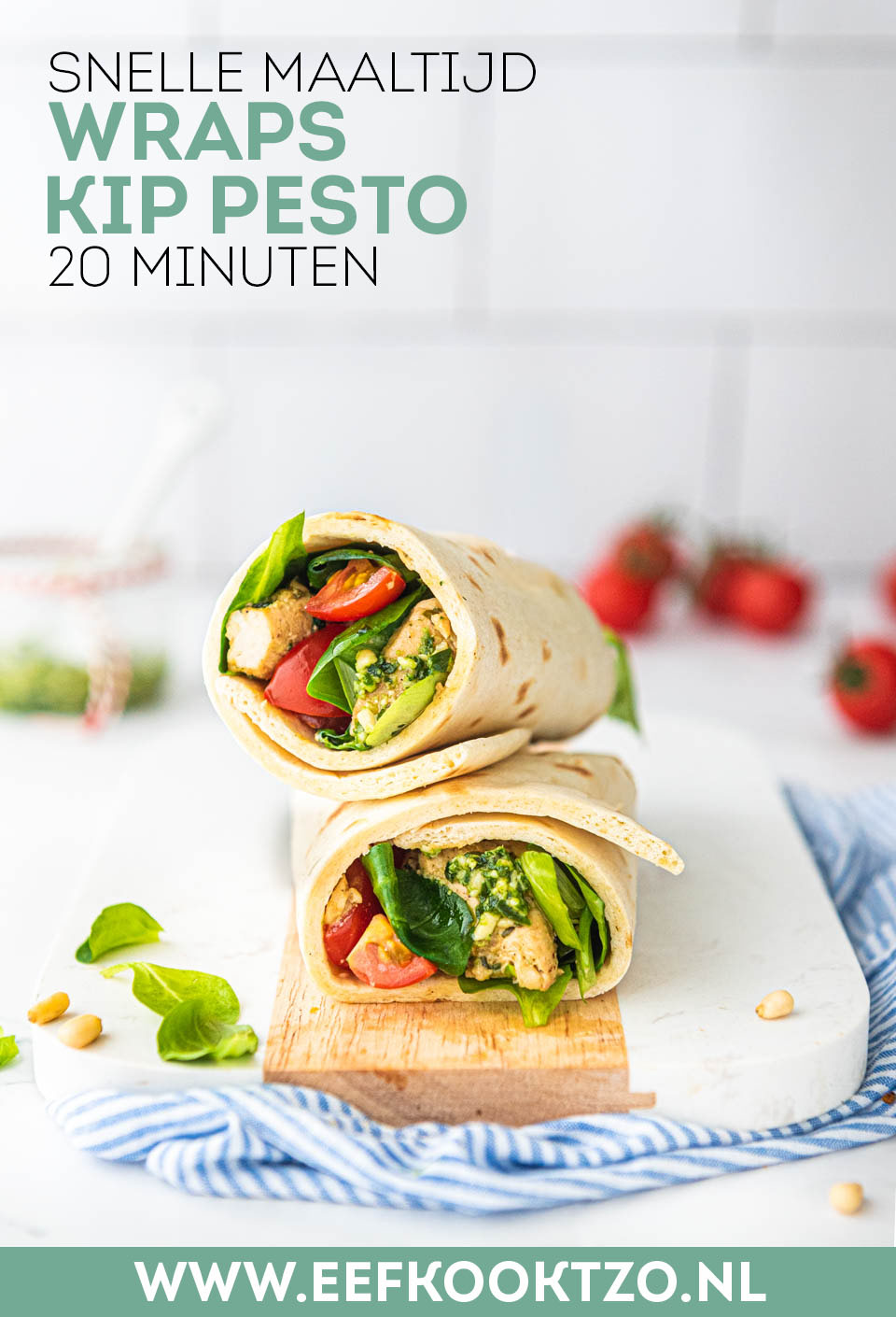 Wrap pesto met kip Pinterest collage