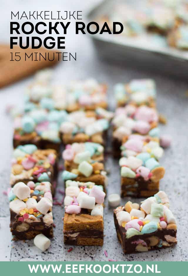 Rocky road fudge met pure chocolade Pinterest Collage