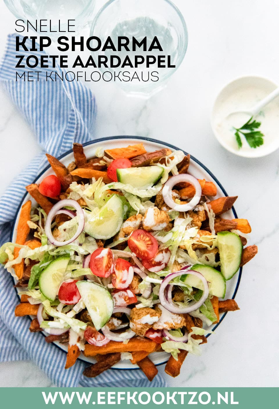 Kip shoarma met zoete aardappel Pinterest Collage