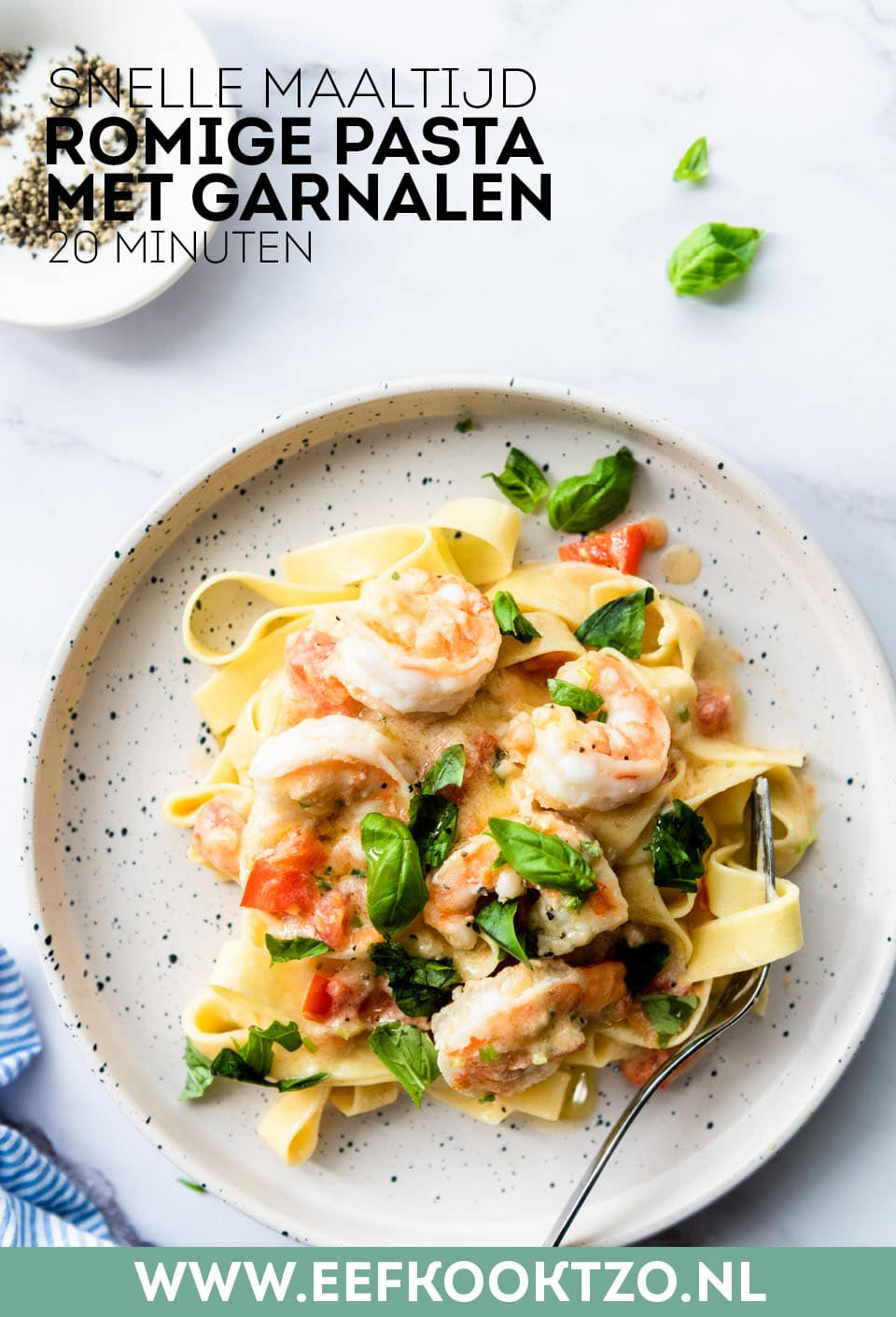 Romige pasta met garnalen Pinterest Collage