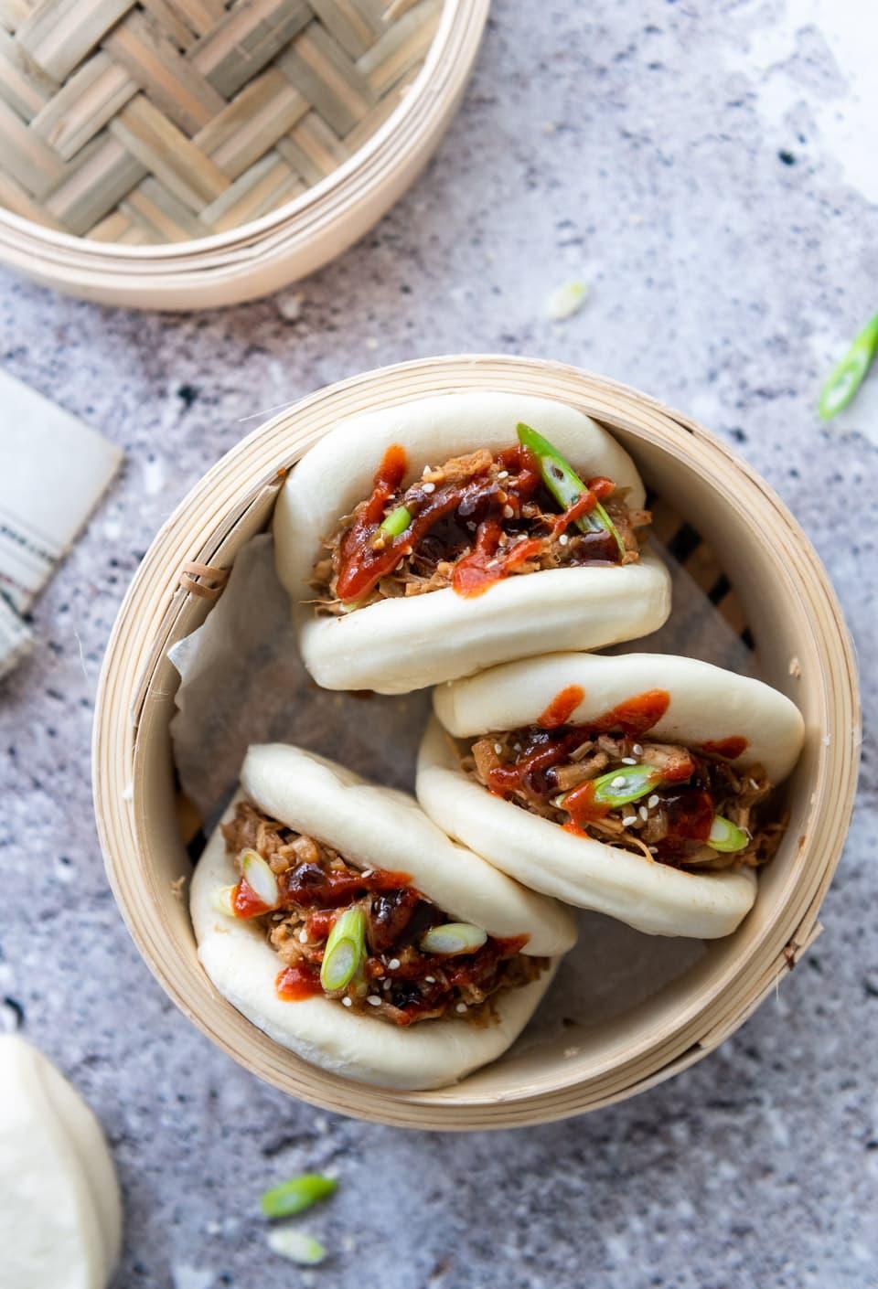 Vegan bao buns met pulled jackfruit