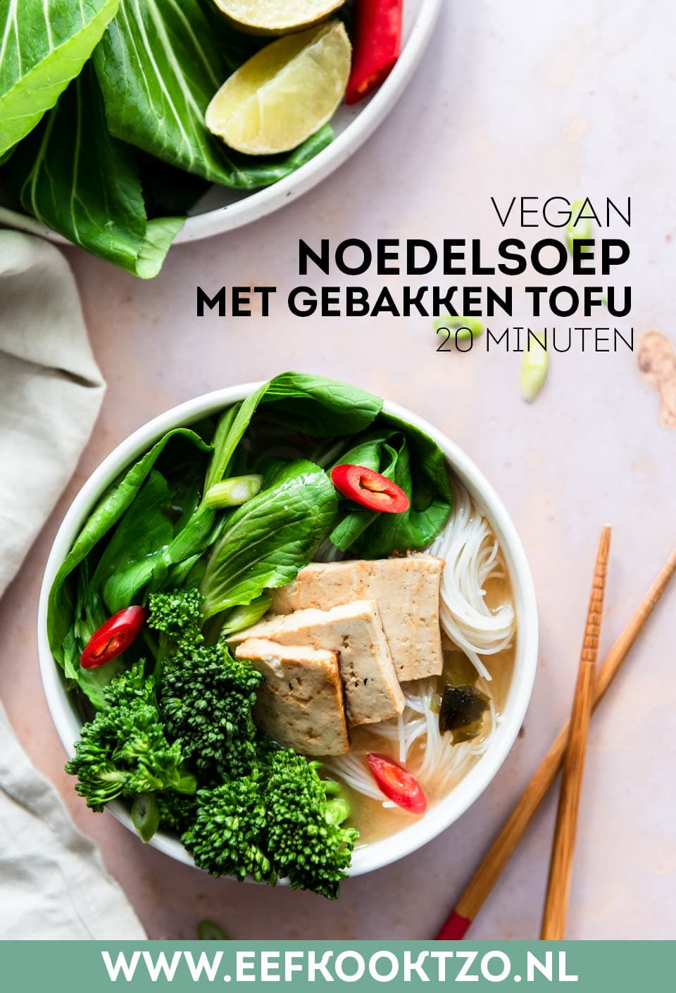 Vegan noedelsoep Pinterest Collage
