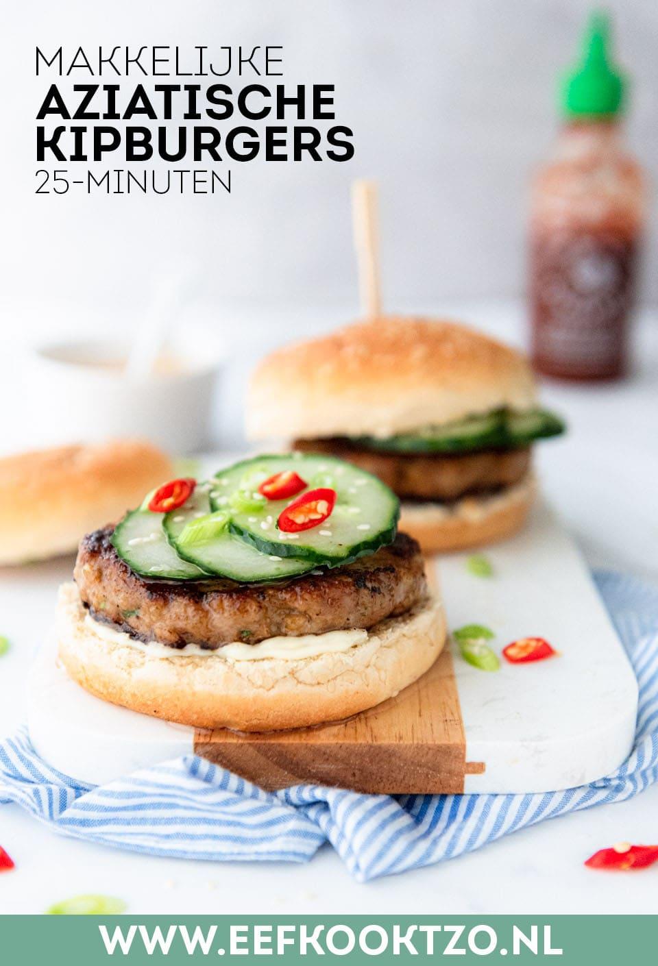 Aziatische kipburger Pinterest Collage