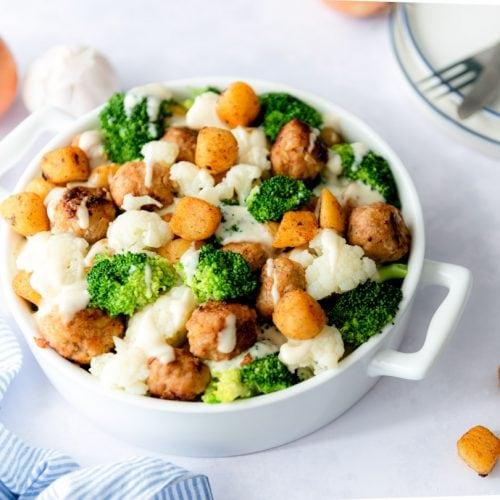 Krieltjes ovenschotel met broccoli en kip