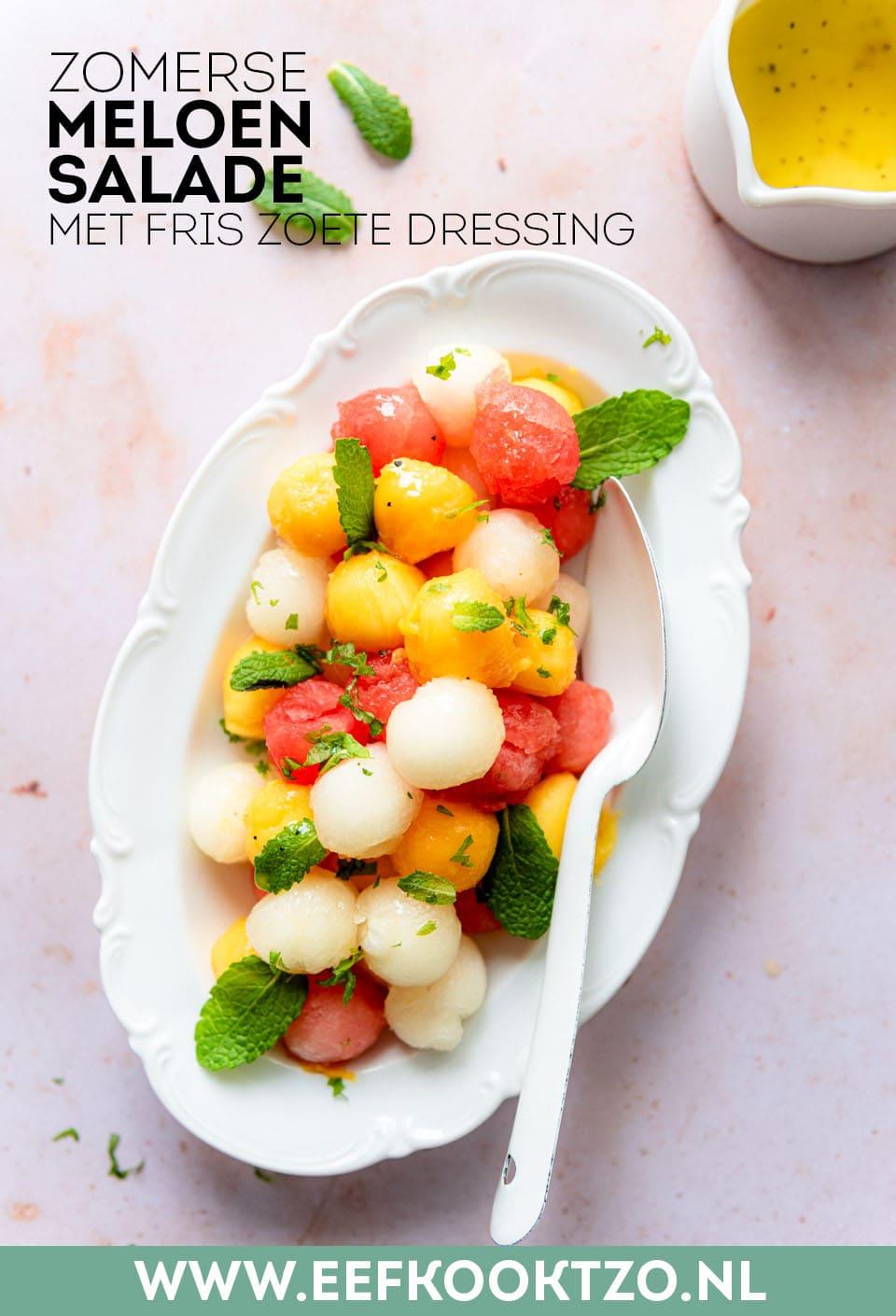 Meloensalade Pinterest Collage