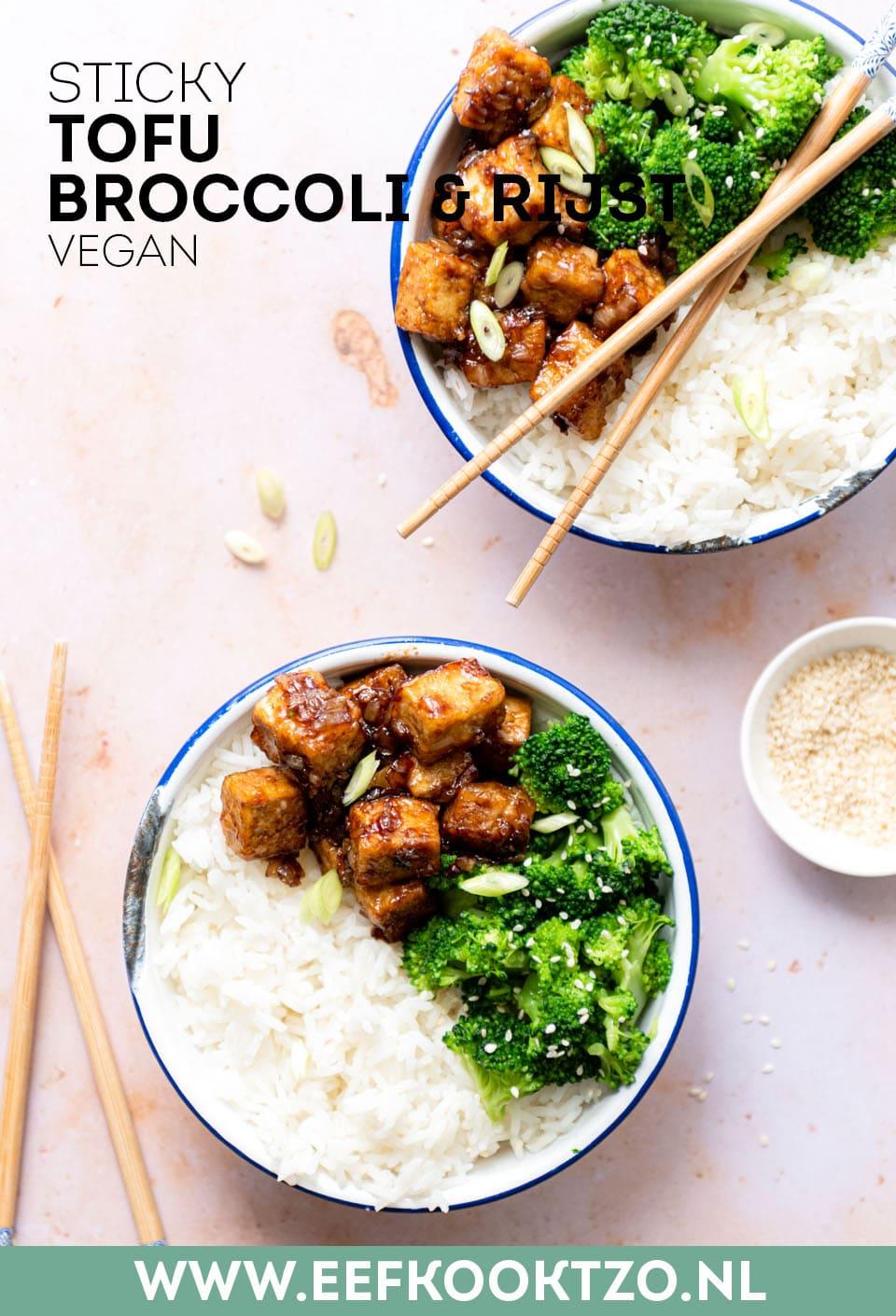 Sticky tofu, broccoli en rijst Pinterest Collage