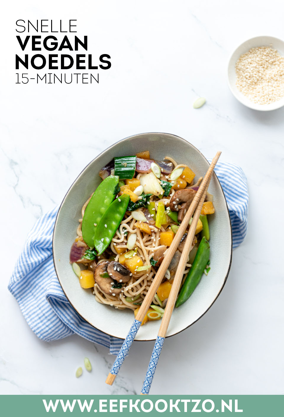 Vegan noedels Pinterest Collage
