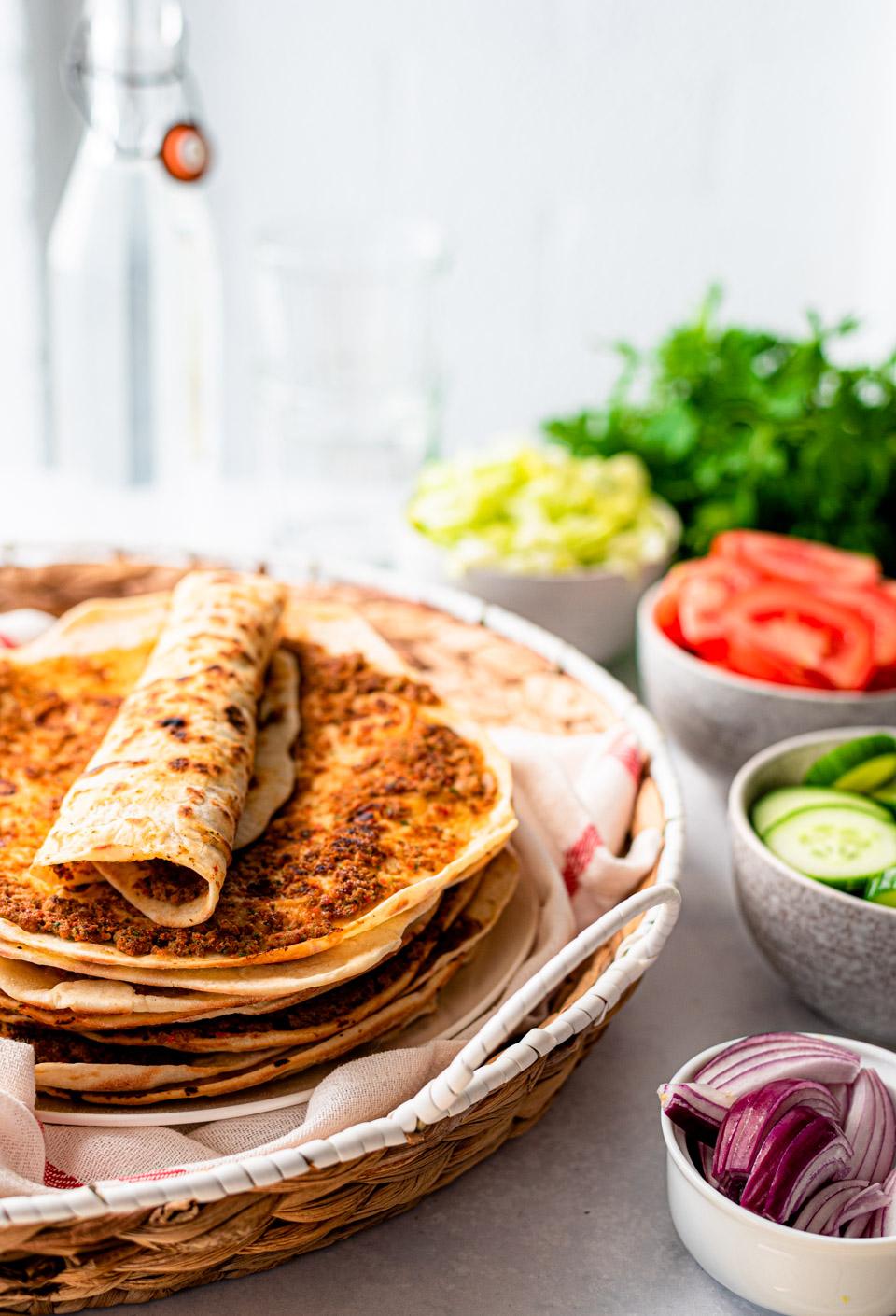 Zelfgemaakte Turkse pizza