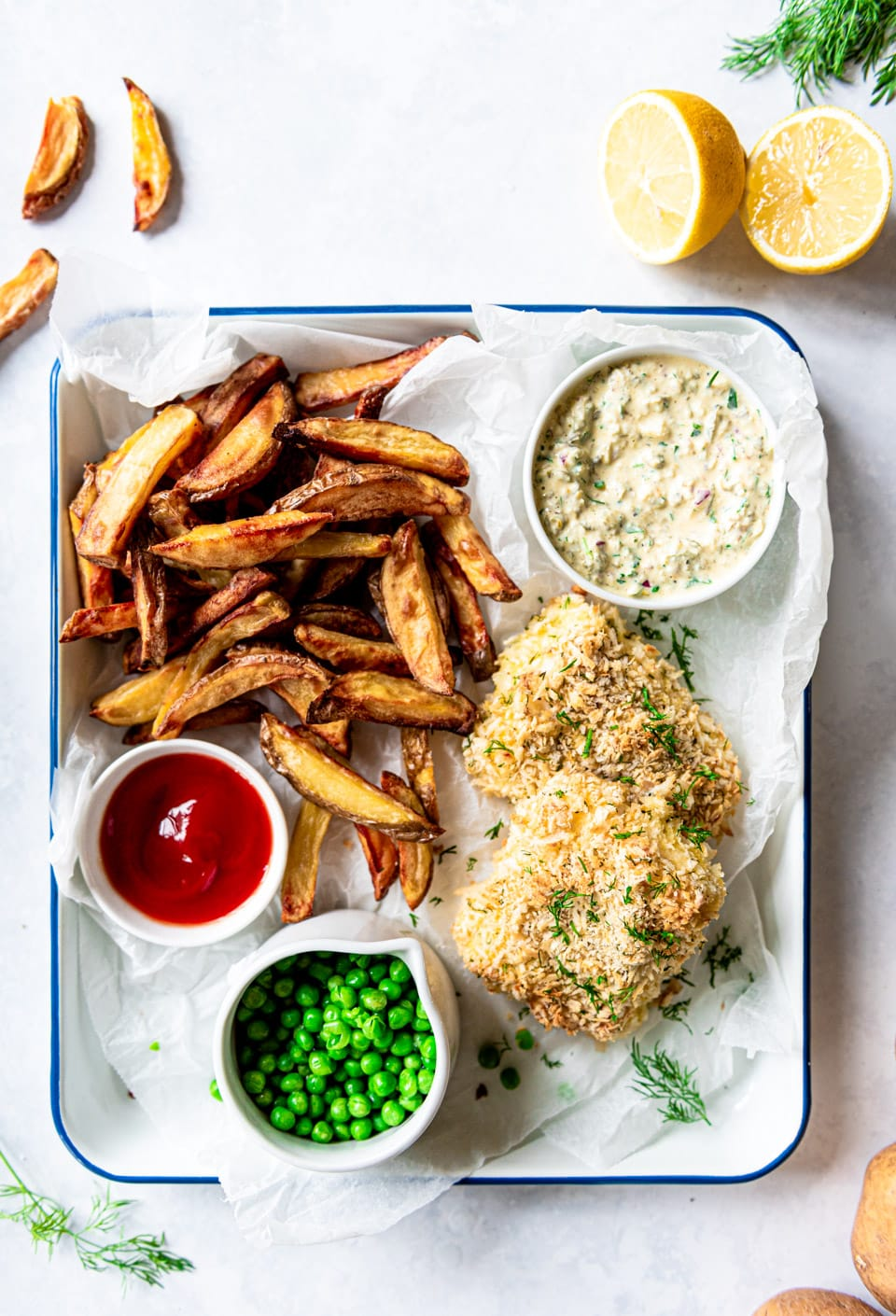 Fish and chips uit de oven recept