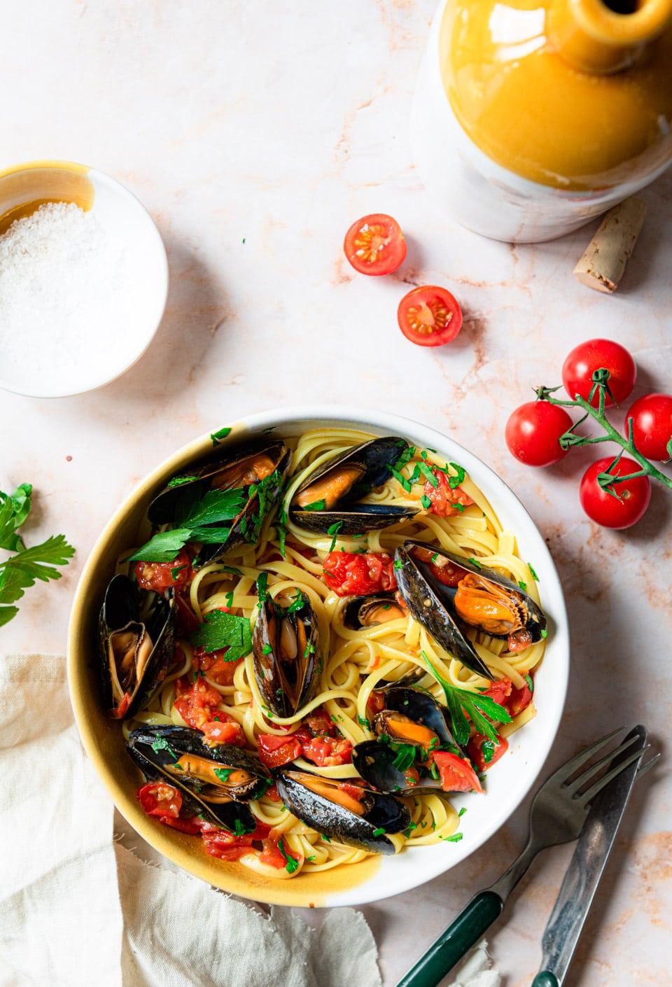 Simpele pasta met mosselen - Italiaans recept