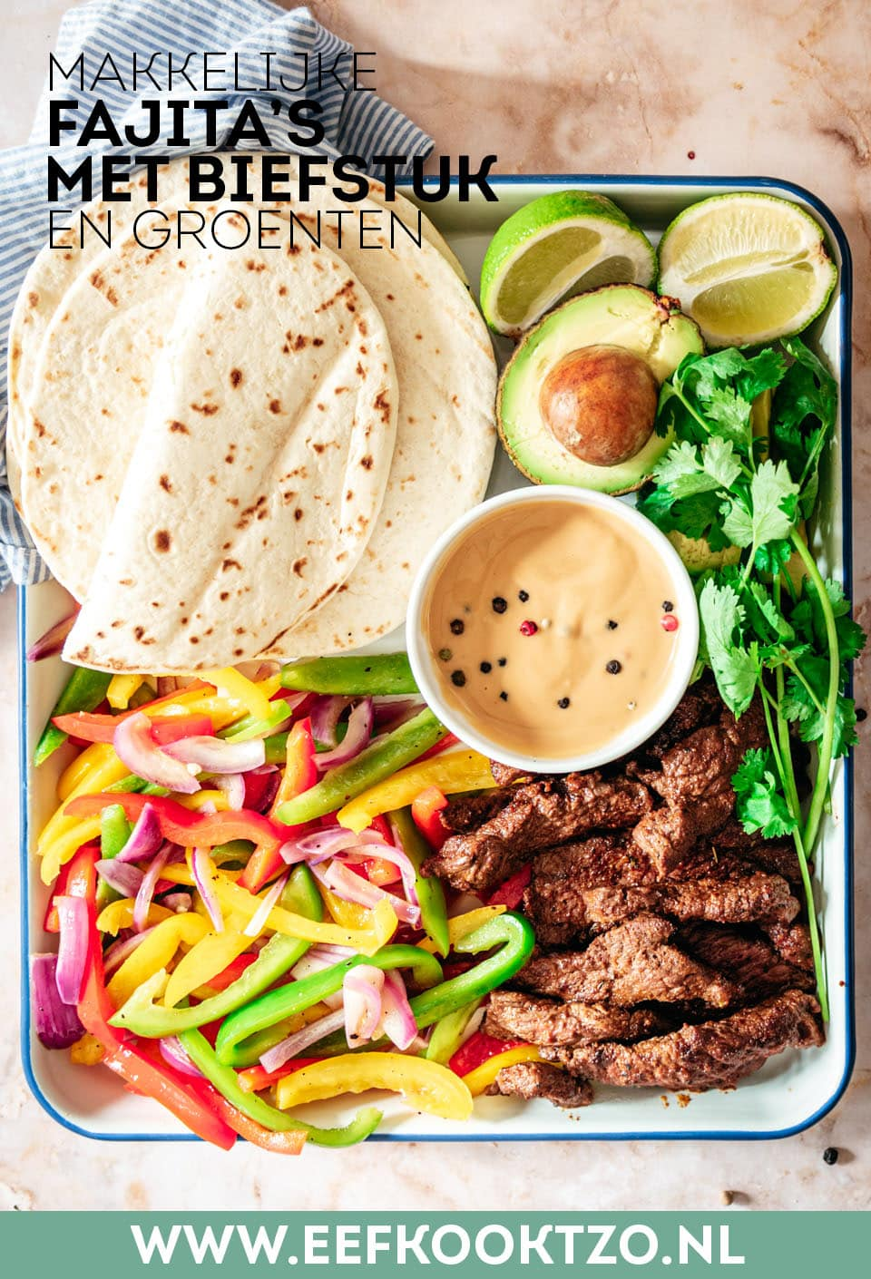 Fajita met biefstuk Pinterest Collage