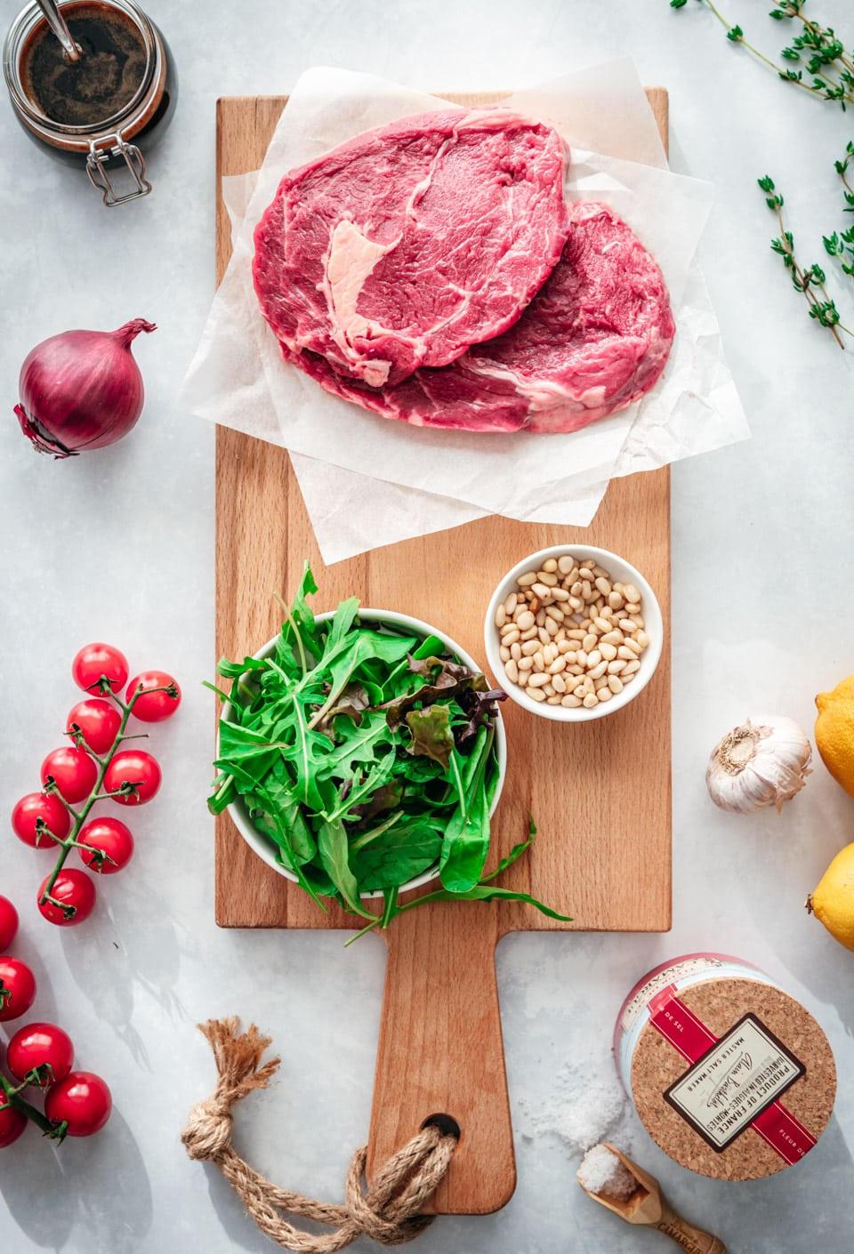Ingredienten tagliata - biefstuksalade