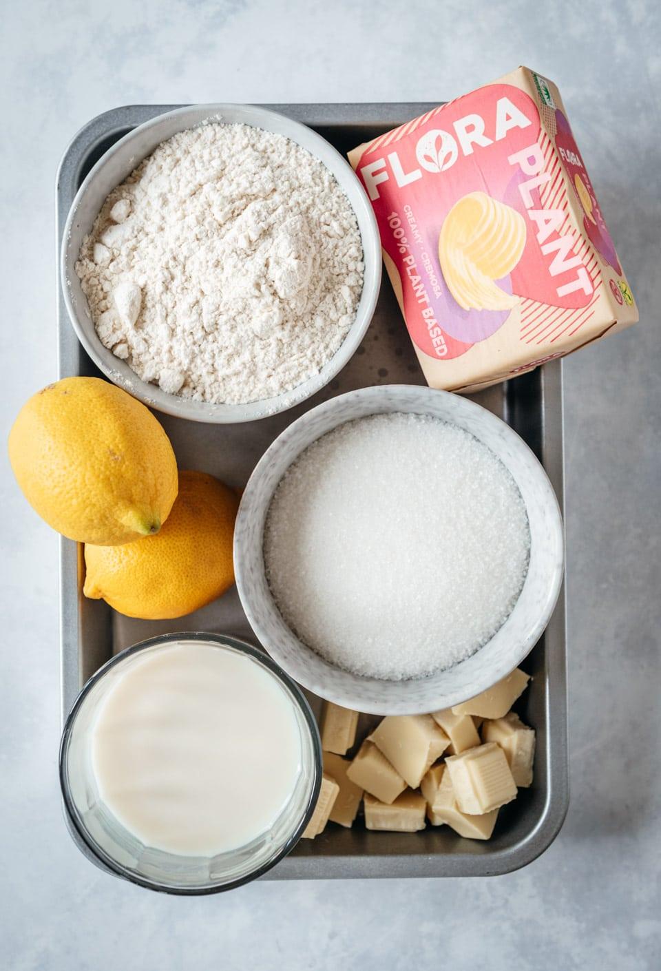 Ingredienten vegan citroencake met botercreme