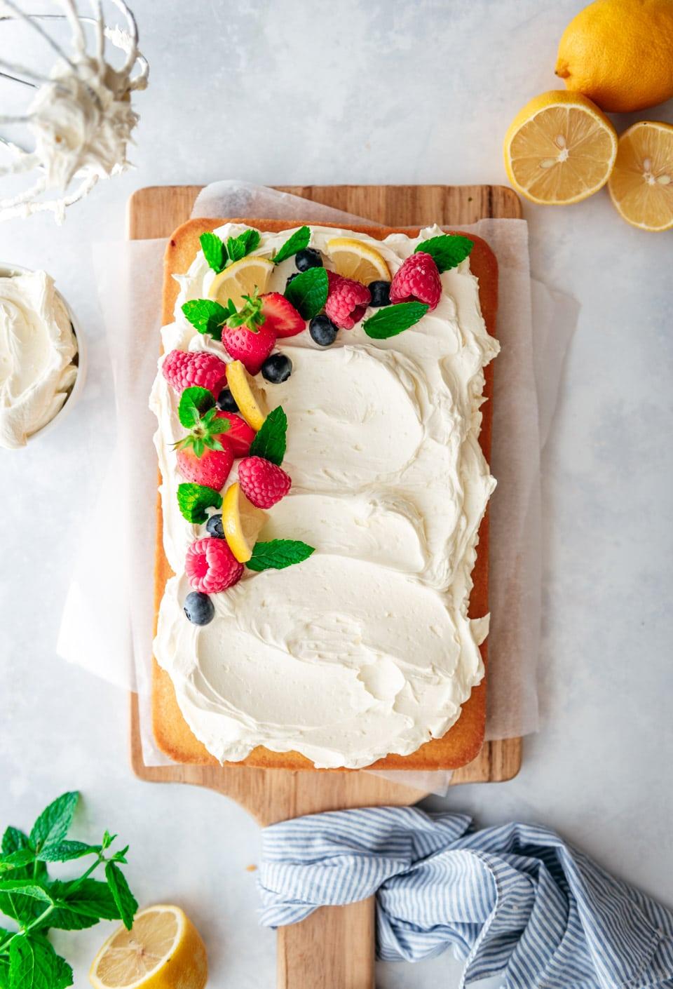 Vegan citroen plaatcake met vegan botercreme