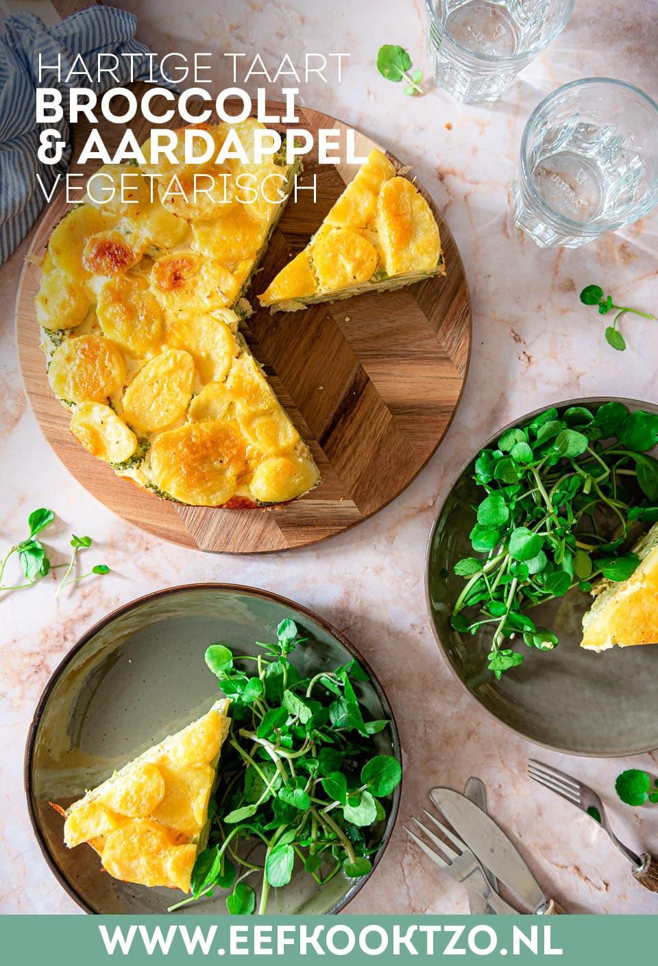Hartige taart met aardappel en broccoli Pinterest Collage